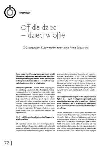 Page 74 of Off dla dzieci – dzieci w offie. Z Grzegorzem Kujawińskim rozmawia Anna Jazgarska