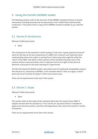 Page 12 of 2 Using the CertiKit ISO9001 toolkit
