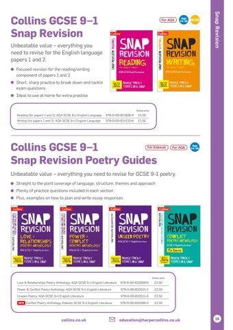 Writing for papers 1 and 2 AQA GCSE English Language Collins Snap Revision