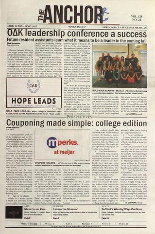 The Anchor Volume 128 22 April 15 2015 By Hope College Library Issuu