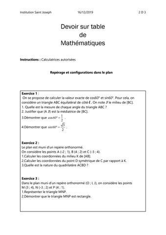 Devoir Sur Table Math Seconde By Gerard Giovannini Issuu