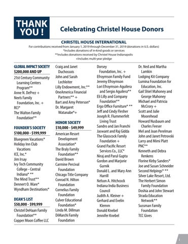 2019 Christel House Donor List Updated March 24 By Christel House Issuu