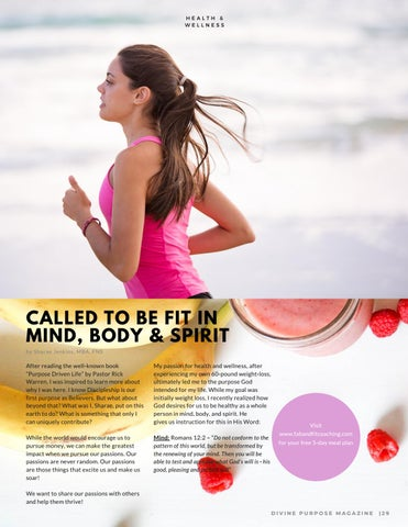 Page 31 of Called to be Fit in Body,Mind & Spirit