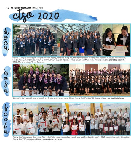 Page 16 of 16 C.T.S.O RESULTS NEWS FEATURE Moanalua's HOSA, DECA & FCCLA partici pated in this years CTSO competition