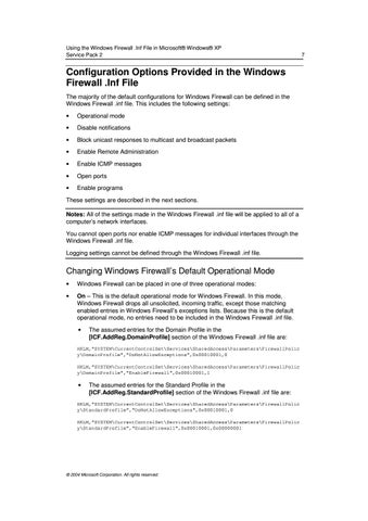 Page 7 of Replace the default Netfw.inf with the modified Netfw.inf in the installation of Windows XP SP2