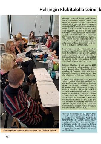 Page 16 of Helsingin Klubitalolla toimii kansainvälinen koulutuskeskus