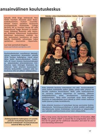 Page 17 of Helsingin Klubitalolla toimii kansainvälinen koulutuskeskus