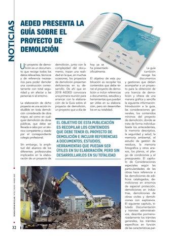 Page 32 of AEDED presenta la guía sobre el proyecto de demolición