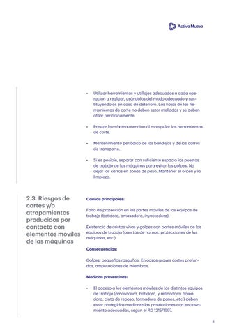 Page 8 of Riesgos de cortes y atrapamiento por contacto con elementos móviles de las máquinas