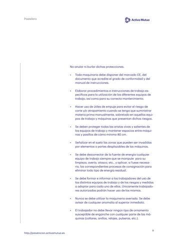 Page 9 of Riesgos de cortes y atrapamiento por contacto con elementos móviles de las máquinas