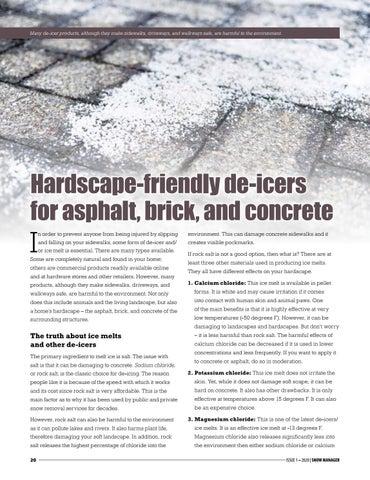 Page 20 of Hardscape-friendly de-icers for asphalt, brick, and concrete