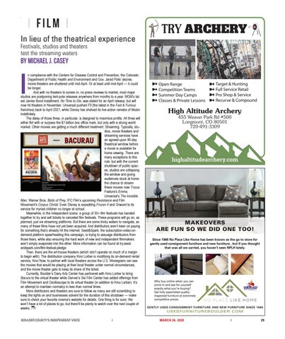 Page 29 of Film: Festivals, studios and theaters test the streaming waters