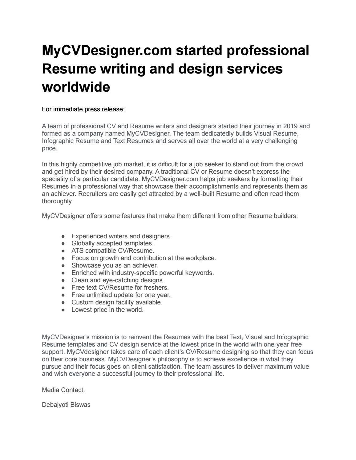 World S Most Affordable High Quality Cv And Resume Design Service By Mycvdesigner Issuu