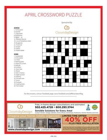 Page 25 of April Crossword Puzzle