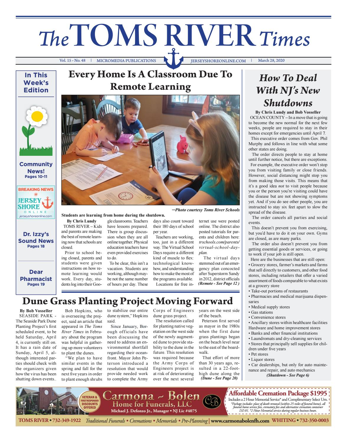 2020 03 28 The Toms River Times By Micromedia Publications Jersey Shore Online Issuu