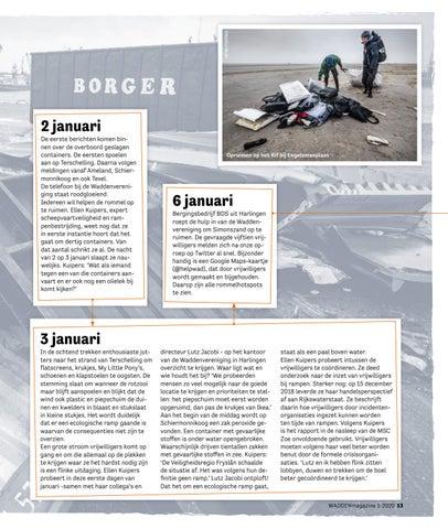 Page 13 of In de nacht van 1 op 2 januari verloor containerschip MSC Zoe 342 containers: een ecologische ramp voor het waddengebied. Een terugblik op dit onstuimige jaar 2019.
