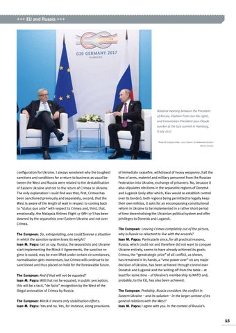Page 15 of Interview with Ioan M. Paşcu MEP, Strasbourg /Brussels The Minsk II Agreement is the only base for détente Russia has to find its role in a new world order