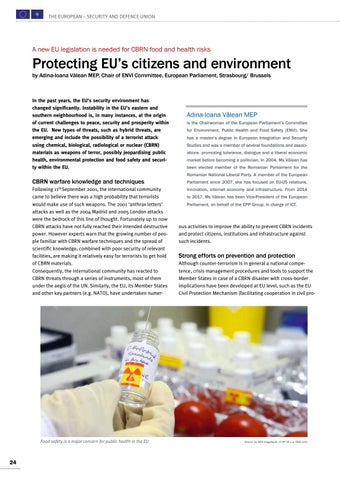 Page 24 of Adina-Ioana Vălean MEP, Strasbourg/Brussels Protecting EU's citizens and environment CBRN food and health risks are a major concern