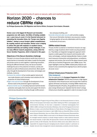 Page 29 of Philippe Quevauviller, Brussels Horizon 2020 – chances to reduce CBRNe risks Build up synergies in thematic areas