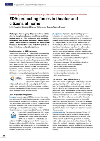 Page 34 of Panagiotis Kikiras and Shahzad Ali, Brussels EDA: protecting forces in theater and citizens at home A broad framework to conduct cooperative research