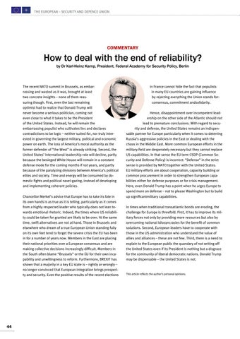 Page 44 of Commentary by Karl-Heinz Kamp, Berlin How to deal with the end of reliability? The USA are not dispensable