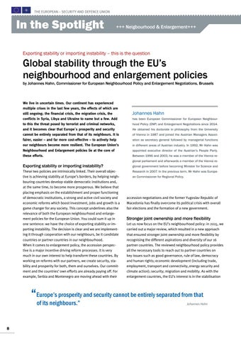 Page 8 of Johannes Hahn, Brussels Global stability through the EU's neighbourhood and enlargement policies Exporting stability