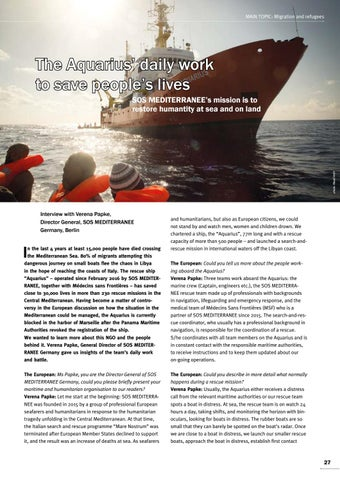 Page 27 of Interview with Verena Papke, Berlin The Aquarius' daily work to save people's lives SOS MEDITERRANEE's mission will continue