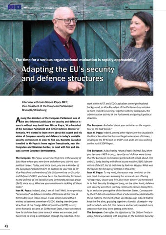 Page 42 of Interview with Ioan M. Paşcu MEP, Brussels/Strasbourg Adapting the EU's security and defence structures Time for organisational changes