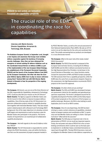 Page 53 of Interview with Martin Konertz, Brussels The crucial role of the EDA in coordinating the race for capabilities The basis for progress is mutual confidence