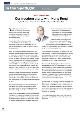 Page 12 of Guest commentary by Jean-Dominique Giuliani, Paris Our freedom starts with Hong kong