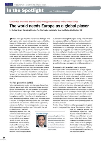Page 14 of Michael Singh, Washington, DC The world needs the EU as a global player Europe strategic dependence