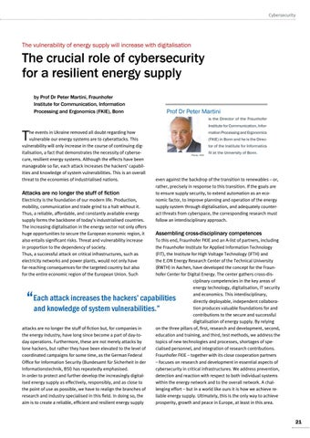 Page 21 of Peter Martini, Bonn The crucial role of cybersecurity for a resilient energy supply Vulnerability will increase with digitalisation