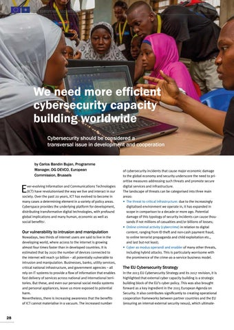 Page 28 of Carlos Bandin Bujan, Brussels 	 We need more efficient cybersecurity building worldwide A transversal issue in development and cooperation