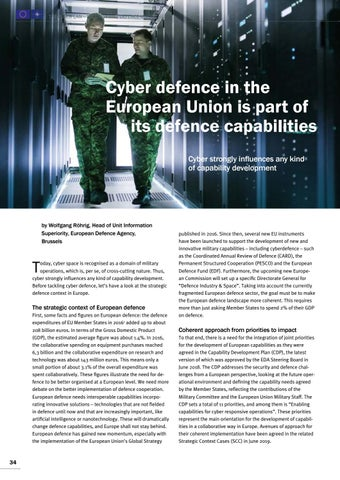 Page 34 of Wolfgang Röhrig, Brussels Cyber defence in the European Union is part of its defence capabilities Cyber strongly influences capability development