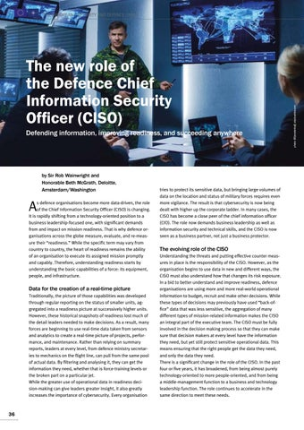 Page 36 of Rob Wainwright, Amsterdam, and Beth McGrath, Washington The new role of the Defence Chief Information Security 	 Officer (CISO) CISOs are more than technology officers