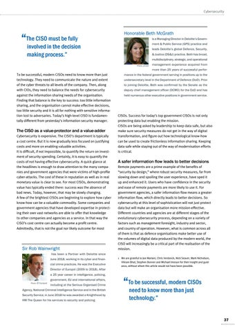 Page 37 of Rob Wainwright, Amsterdam, and Beth McGrath, Washington The new role of the Defence Chief Information Security 	 Officer (CISO) CISOs are more than technology officers