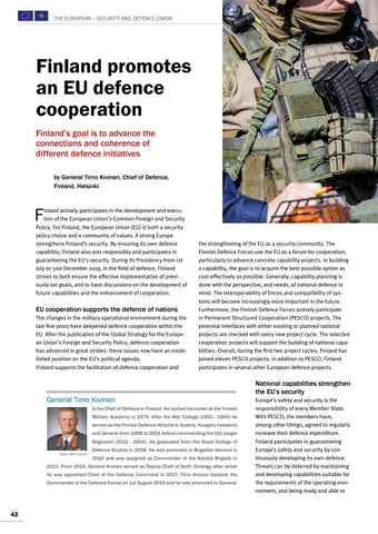 Page 42 of Timo Kivinen, Helsinki Finland promotes an EU defence cooperation Make European forces more operational