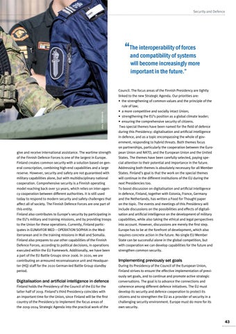 Page 43 of Timo Kivinen, Helsinki Finland promotes an EU defence cooperation Make European forces more operational