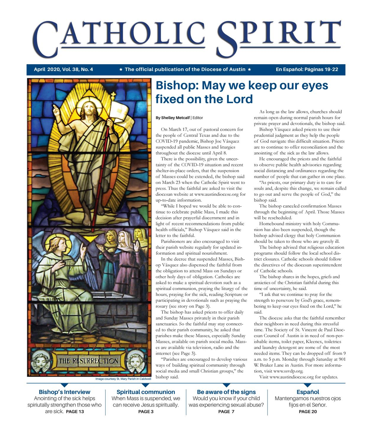 Catholic Spirit April 2020 By Diocese Of Austin Issuu