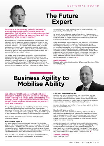 Page 21 of Find out what our editorial board panel of experts have to say in this edition of Modern Insurance Magazine