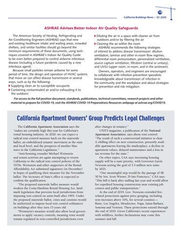 Page 19 of BOMA International & ASHRAE Offer Workplace Anti-Viral Guidance