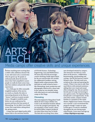 Page 18 of ARTS+ TECH: Media camps offer creative skills and unique experiences