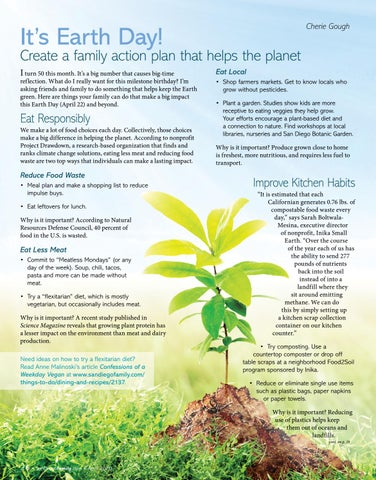 Page 26 of April 22 is Earth Day! Create a family action plan that helps the planet