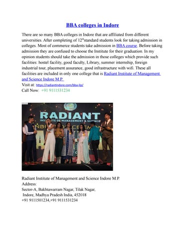 Bba Colleges In Indore By Radiant Indore123 Issuu