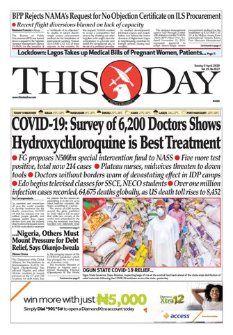 Sunday 5th April 2020 By Thisday Newspapers Ltd Issuu
