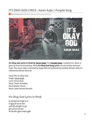 It S Okay God Lyrics Karan Aujla By Lyrics 4 Songs Issuu