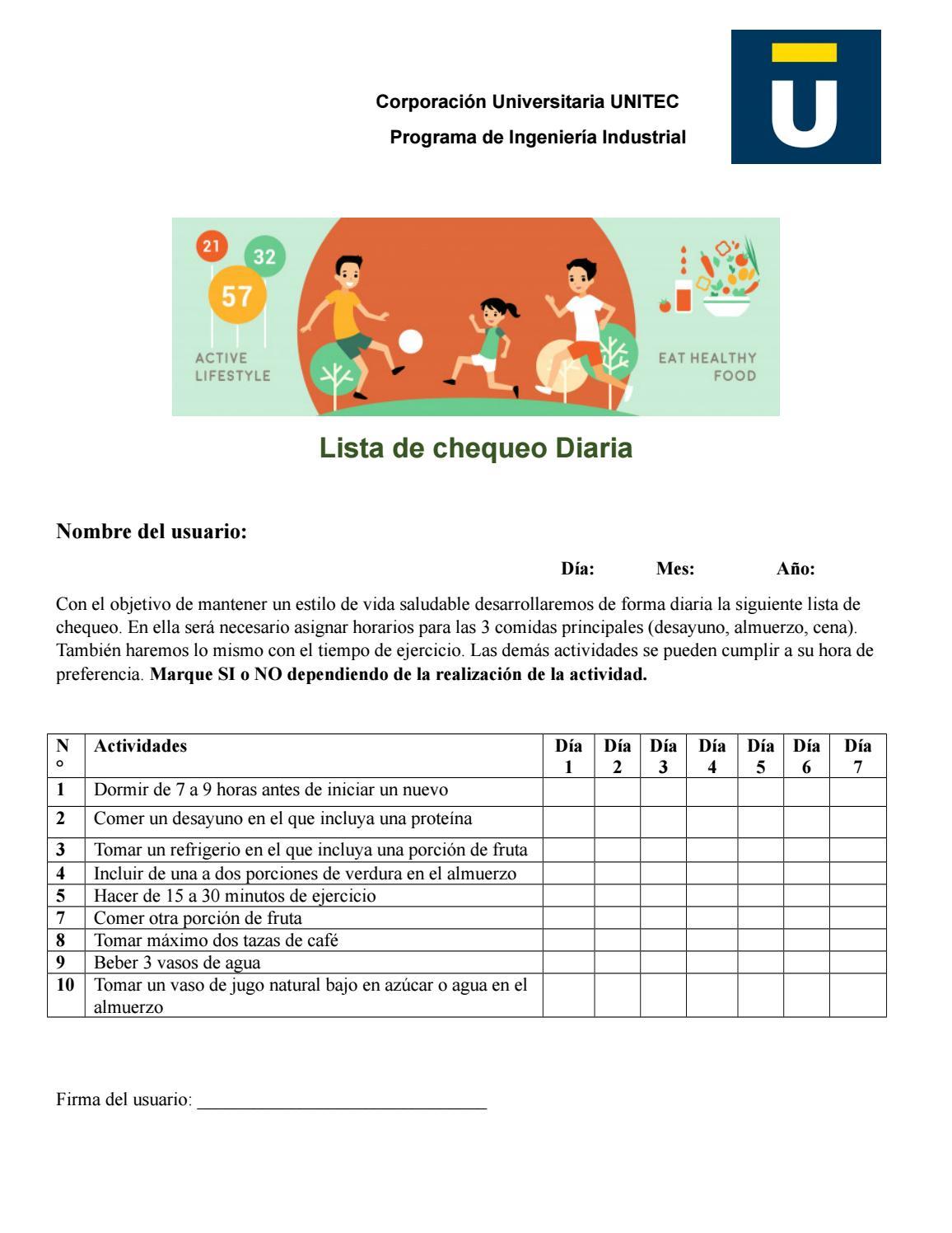 Lista De Chequeo Hábitos De Vida Saludable By Martha Belmonte Issuu