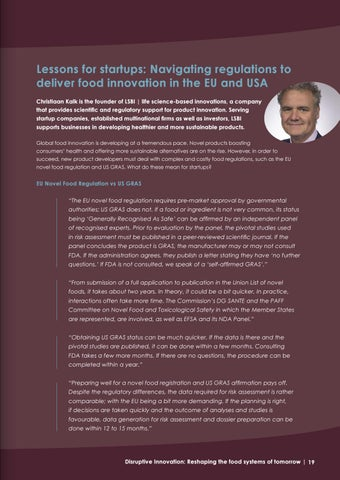 Page 19 of Lessons for startups: Navigating regulations to deliver food innovation in the EU and USA
