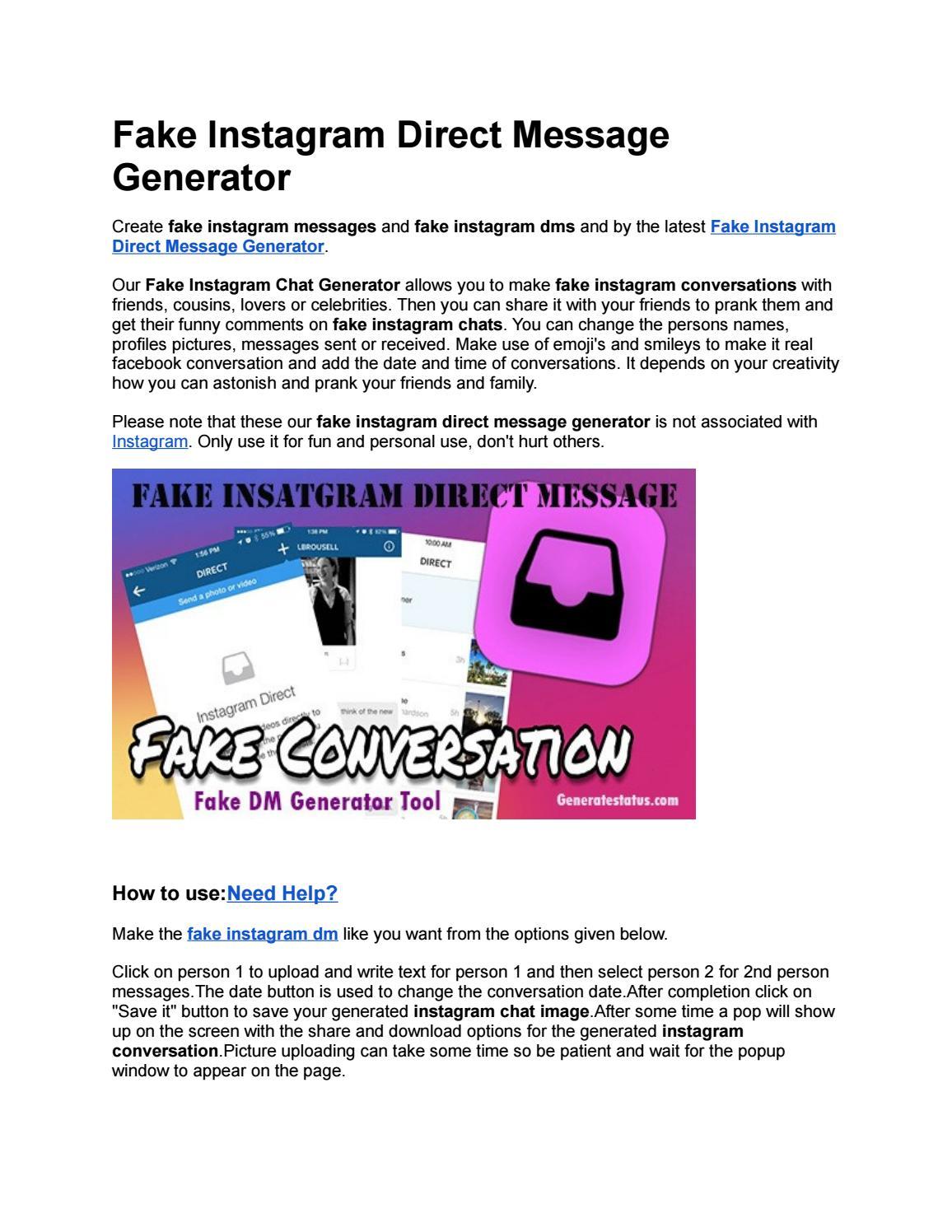 Instagram chat maker online fake Generatestatus