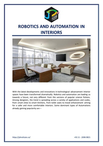 Robotics And Automation In Interiors By Jd Institute Of Fashion Technology Issuu